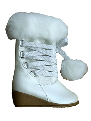 Canyon River Blues Toddler Girls White Fashion Boots with Faux Fur Trim 5T (Canyon River Blues Shoes compare prices)