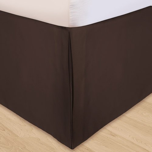 "650 Thread Count Italian Finish 100% Egyptian Cotton Bed Skirt+2 Free Pillowcase By Satisfaction Linen Rv Bunk 53"" Widex79"" Long 15"" Drop Size Chocolate Solid front-662395"