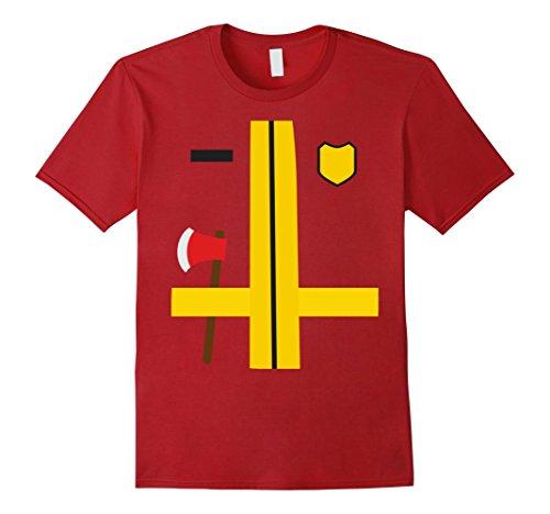 Men's Firefighter Fireman Uniform Childs Adult Halloween Costume XL Cranberry (Fireman With Hose Adult Costume)