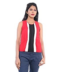 Avakasa Polyester Red Stripes Partywear Sleeveless Sleeves Top (top-19-red)