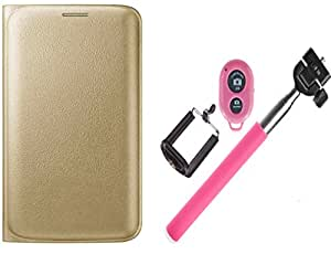 Novo Style Samsung Galaxy S6 Edge Folio PU Leather Case Slim Cover with Stand + Selfie Stick with Adjustable Phone Holder and Bluetooth Wireless Remote Shutter