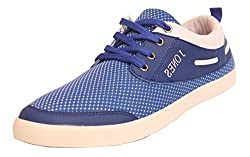 Jones Smith Mens Blue Canvas Casual Sneakers - 7
