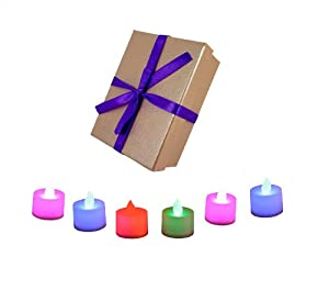 PK Green 6 Colour Changing LED Candles, Flameless Tea Lights in Pink Gift Box