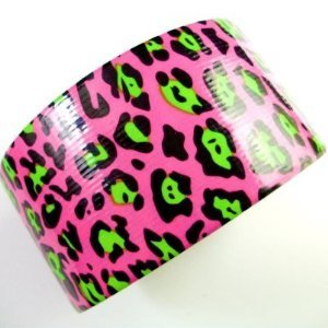"Craft Duck Duct Tape ""Pink Lime Green Black Cheetah Print"" 10 Yards by Duck"