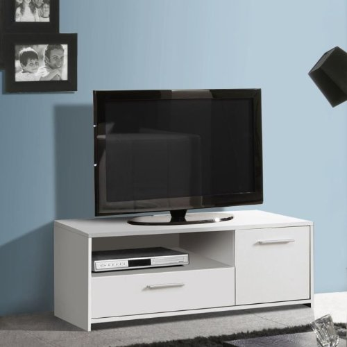 meubles tv quadro meuble tv blanc 108cm. Black Bedroom Furniture Sets. Home Design Ideas