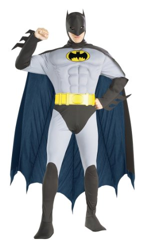 Grey Batman Muscle Chest Deluxe Fancy Dress Costume - Adult