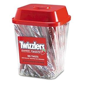 Strawberry Twizzlers Licorice, Individually Wrapped, 2lb 1.3 oz Tub