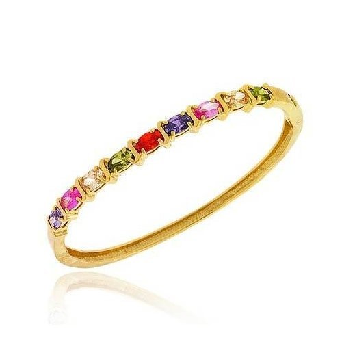 Vermeil (24k Gold over Sterling Silver) Olive Green, Champagne, Simulated Pink Sapphire, Simulated Amethyst, and Orange cz Oval prong Stone S Design Bangle