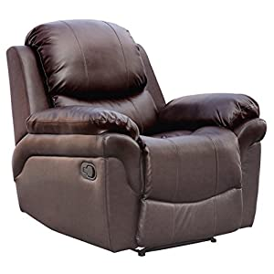 real leather recliner armchair sofa home lounge chair reclining