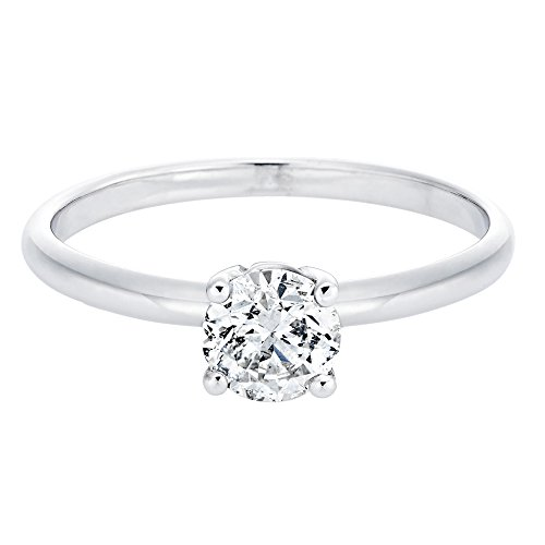 0.60 Carat Round Diamond Solitaire Engagement Ring in 18k white-gold KL I1-I2