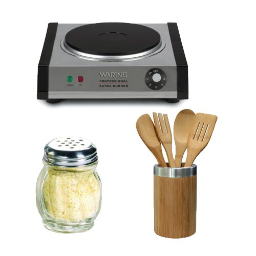 Waring Pro Sb30 Countertop Portable Burner + Home Basics 5-Piece Bamboo Tool Set + (2) Hds Trading Cs10871 Cheese And Spice Shaker (Glass Finish)