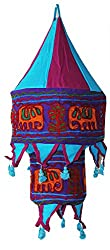 Sanskrite India Hanging Appliqued Handmade Foldable Round Cloth Lantern Light Diwali Home Dcor