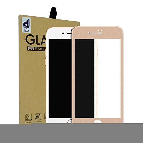 "iPhone 7 Screen Protector, JDX 0.2mm Carbon Fiber Protector Film 3D Full Cover Soft Curve Edge Ballistic Tempered Glass [3D Touch Compatible] for Apple iPhone 7 (4.7"" Gold)"
