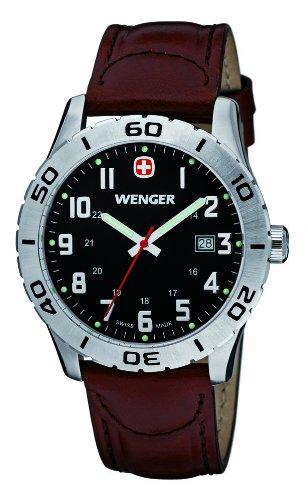 Wenger Grenadier 01.0741.103 - Reloj analógico de cuarzo para hombre, correa de cuero color marrón (agujas luminiscentes)