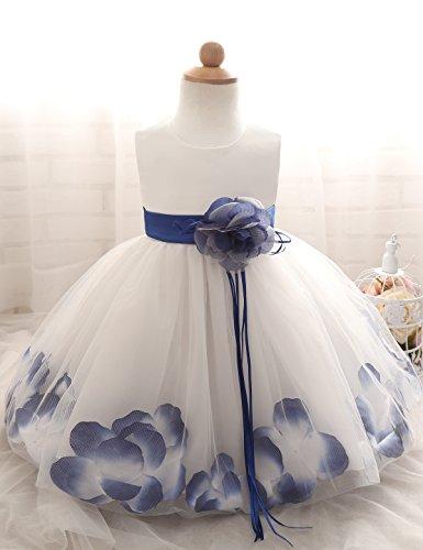 NNJXD Girl Tutu Flower Petals Bow Bridal Dress for Toddler Girl Size 13-18 Months Blue