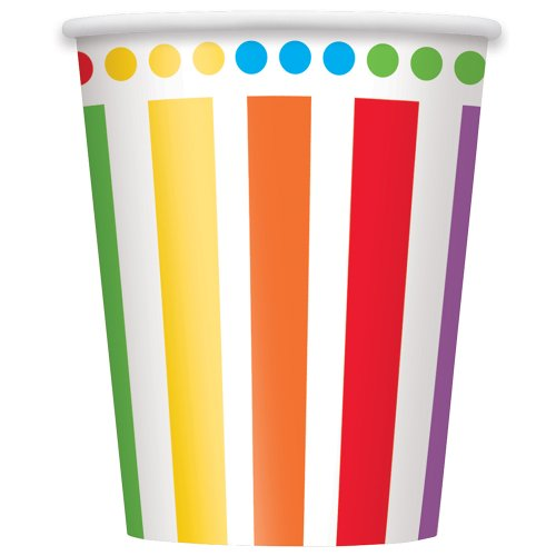 Purchase Unique 9-Ounce Rainbow Party Paper Cups (8 Count), Multicolor