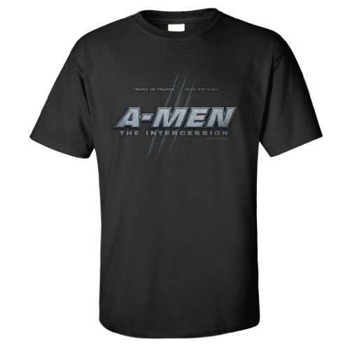 """Christian Themed T-shirts – """"A-Men"""" Parody of X-Men with Christian Message **Size Lrg**"""