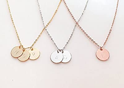 A Delicate Initial Disc Necklace in 16k Gold -Plated Silver Rose Gold - Enter your choice of initials in the 'options' menu - Best Personalized Bridesmaid gifts - Valentines Day Gift Jewelry