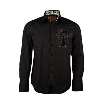 Rebel Spirit Men's Embroidered Black Cross Dress Shirt at ...