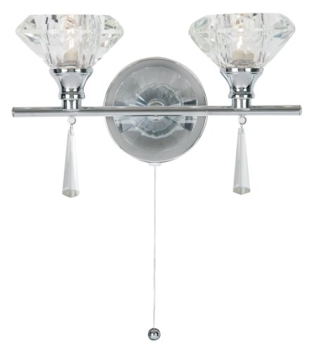 Sahar wall light in polioshed chrome finish complete with K9 crystal glass shades.