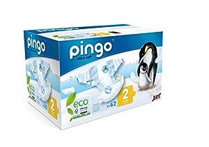 PINGO Pañales ecológicos Talla 2 mini (3-6 kg) - pack 2 x 62 pañales en BebeHogar.com