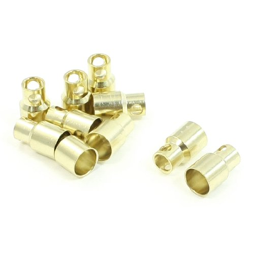 10 PCS 8mm Gold Tone Metal Bullet Connector Banana Plug for RC Helicopter - 1