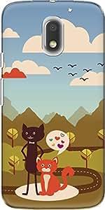 The Racoon Lean printed designer hard back mobile phone case cover for Motorola Moto E3 Power. (Cat Love)