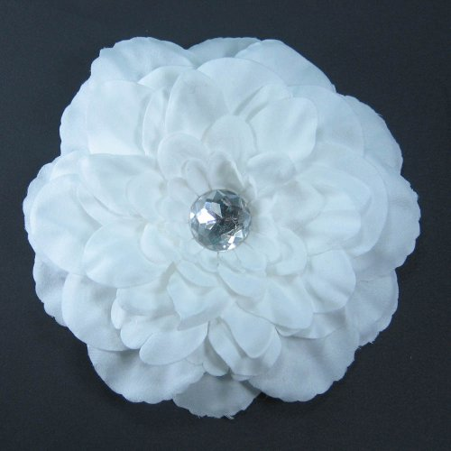 Large Soft Petal Peony Flower Hair Clip Bow with Crystal Center for Infant Baby Toddler to Youth Girl - White