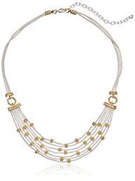 """Napier """"Classics"""" Two-Tone Multi-Row Frontal Necklace, 15''+3'' Extender"""