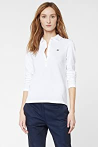 Long Sleeve 5 Button Stretch Pique Polo