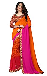 Glory Sarees Women's Georgette Saree (vn18_pink and orange)