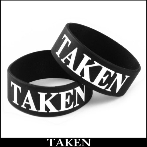 Taken Designer Rubber Saying Bracelet (Black)