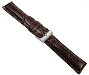 Herzog Ascot Correa de Reloj piel de becerrocuero Band marrón cronógrafoschließe 20615S, Ancho de la pulsera: 24mm