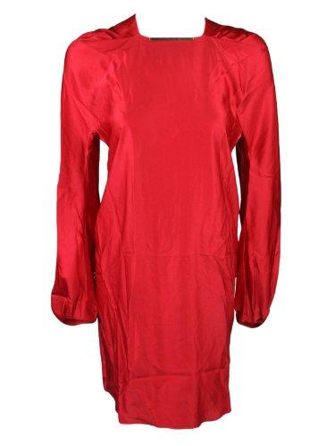 Lanvin Womens Rouge Long Sleeve Silk Blend Brass Bar Dress 38 6