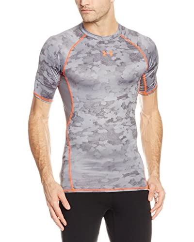 Under Armour Camiseta Técnica Fitness T-Shirt Armour HG Printed Short Sleeve Gris