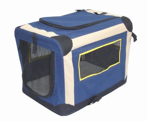 70cm (L) x 45cm (W) x 55cm (H) Blue Portable Cat Dog Puppy Folding Soft Fabric Crate Pet Cage Carrier Kennel with Power Coated Steel Frame and Washable Water Resistant 600D Polyster With PVC Coating and Soft Faux Fur Cushion