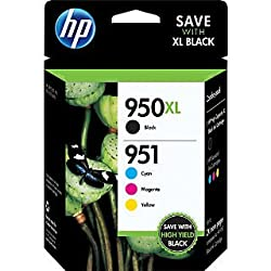 HP 950XL Black/951 Tri-Color (C2P01FN140) Inkjet Cartridge Four Pack