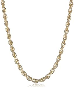 Duragold 14k Yellow Gold Solid Diamond-Cut Rope Chain Necklace (2.5mm ), 18