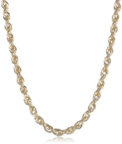 Duragold 14k Gold Solid Diamond-Cut Rope Chain