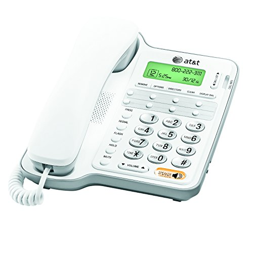 att-cl2909-corded-phone-with-speakerphone-and-caller-id-call-waiting-white