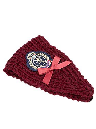 Women Bow-Knot Knit Headband With Botton Back Headwrap Ear Warmer Wine Red