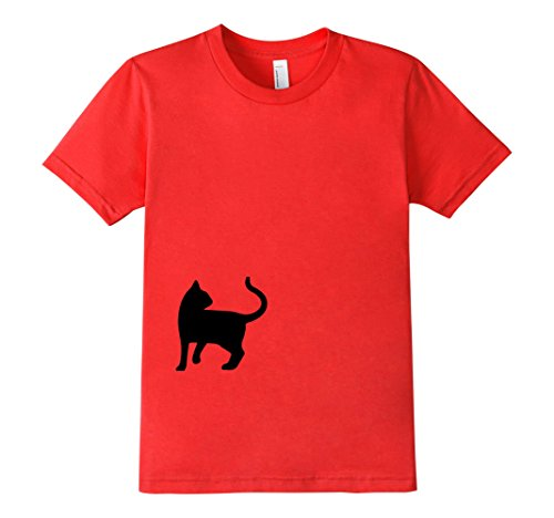 Kids-EmmaSaying-Dont-Look-Back-In-Anger-Cat-Silhouette-T-Shirt-Red