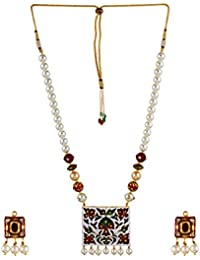 Aradhya Traditional Designer Navratan And Kundan Necklace Set With Pearl And Whit Onyx Stone Beads For Women And...