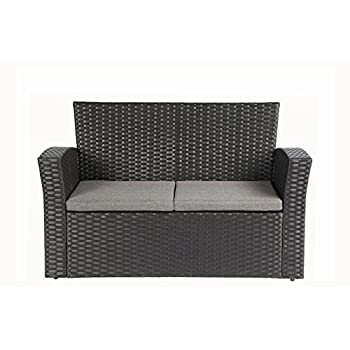 Baner Garden (N87 4 Pieces Outdoor Furniture Complete Patio Cushion Wicker P.E Rattan Garden Set, Full, Black