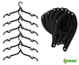 6 Pack of Ipow Black Plastic Foldable Travel Home Camping Mini Non-slip Clothes Shirts Sweaters Dress Hanger Hook Drying Rack