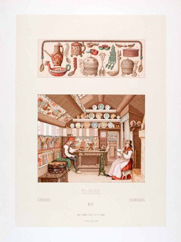 1888 Chromolithograph Sweden Home Interior Traditional Ethnic Native Woodwork - Original Chromolithograph