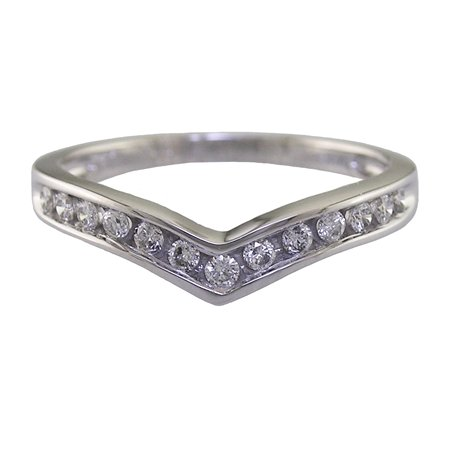 1/4 CT V-Shape Diamond Wedding Band 14K White Gold (Available In Sizes J - T)