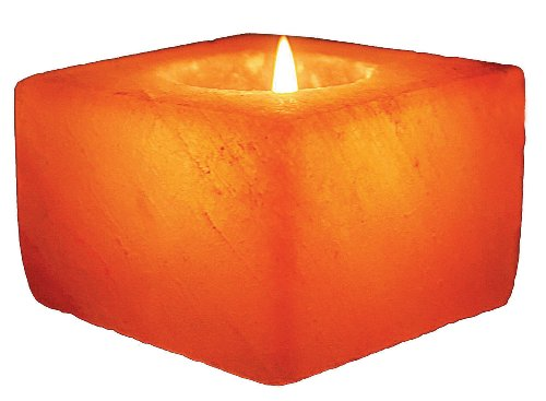 WBM Himalayan Light  # 3050  Natural Air Purifying   Hand Carved Himalayan Crystal Salt 1 Hole Tealight Candle Holder Cube