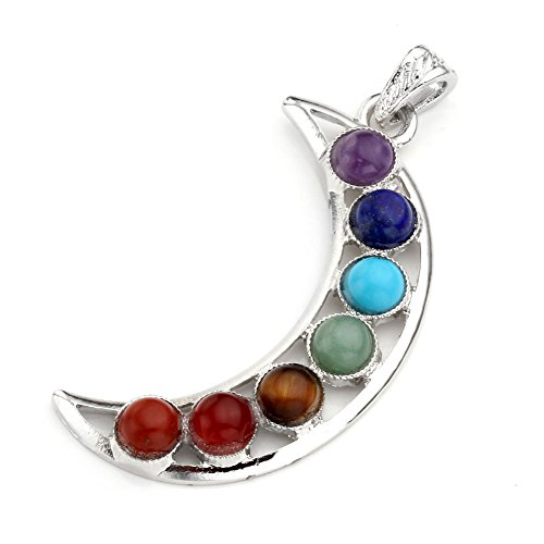 Top Plaza Vogue 7 Chakra Healing Stones Pendant for Necklace Making, 3 Style - Yoga/Angel/Sword,2.3''-2.5'' (Moon)