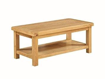 Grande table basse en chêne massif-Table basse en chêne massif rustique original avec étagère-Taille: L-Finition: Chêne clair-Salon